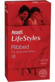 Ansell Lifestyle Ribbed Condoms 12 Pk