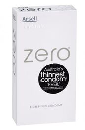 Ansell Zero Uber Thin Condoms 8 Pack - With Hang Tab