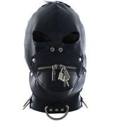Bondage Zipper Gimp Hood Faux Leather