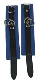 Blue Leather Ankle Cuffs with Dual O rings