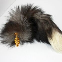 Black & White Fox Tail & Gold Butt Plug