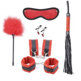 Black and Red Plushy 6 piece Bondage Kit