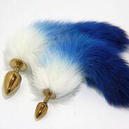 Blue Fox Tail Gold Butt Plug