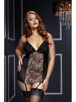 Basque W/ Garter Stays No Panty Q Leopard