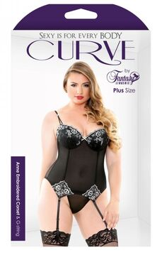 Curve Anne Embroidered Corset And G-String - 3X/4X