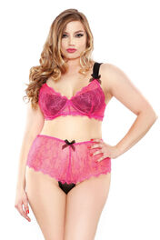 Curve Eyelash Lace Two Tone Bra & Panty
