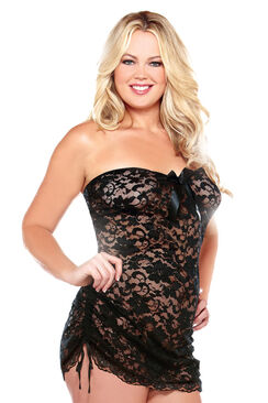 Curve Lace Strapless Dress & Thong