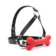 Canine Silicone Bone Gag with Head Harness