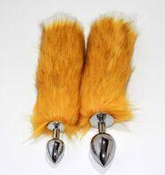 Canid Orange Fox Tail Smooth Silver Butt Plug