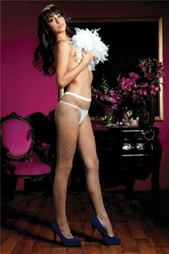 Diamond Fishnet Pantyhose - 20311-Wh-OS(BX)