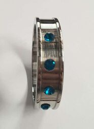 Deep Shallow Cock Ring 55mm Sapphire Gemmed