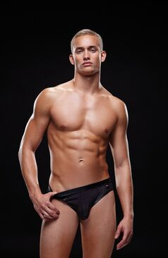 Envy Wetlook Bare Back Athletic Brief E018 Black
