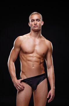 Envy Wetlook Bare Back Athletic Brief E018 Black
