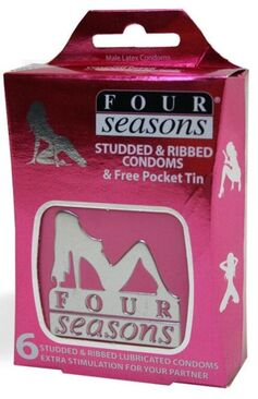 Four Seasons Studded and Ribbed Condoms in Pocket Tin 6 pack