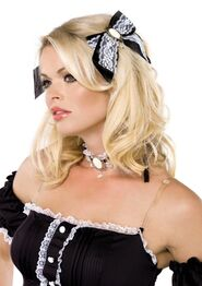 French Maid Choker And Matching Hair Bows