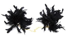 Feather Cuffs with Golden Chain