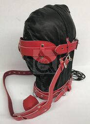Hell On Fire Black With Red Slave Hood & Blindfold Leather