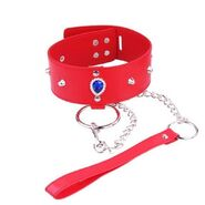Heart Neck Collar & Lead in Crimson