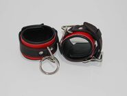 Netherworld Restraints Wrist Cuffs Black and Red Leather