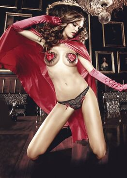 Lace Thong w/Bow Black/Red