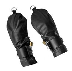 Lace Up Leather Mitts with Wrist Cuffs