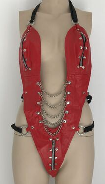 Ladies BDSM One Piece Red Leather Outfit