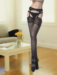 Leysa Garter Stockings Seemless Love Hearts