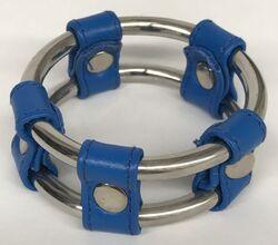 Plain Tube Steel Double Cock Ring Blue 45mm