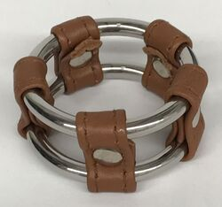 Plain Tube Steel Double Cock Ring Brown 45mm