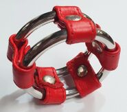 Plain Tube Steel Double Cock Ring Red 50mm