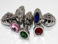 Ribbed Jewelled Butt Plug Small