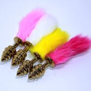 Rabbit Tail Ribbed Butt Plug Gold Large