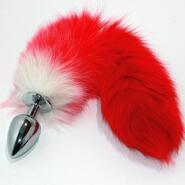 Red Fox Tail Silver Butt Plug