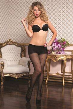 Sheer Control Top Pantyhose With Dot Print