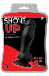 """Shove Up 6"""" Silicone Dong With Suction Cup Black"""