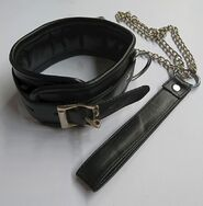 Slave Leather Collar with Chain Lead
