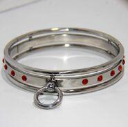 Steel Jeweled Small Slave Collar Rose Quartz