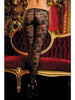 Stretch Floral Lace Leggings With Elastic Waistband