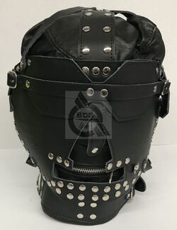 Sensory Deprivation Hood Studded Faux Leather