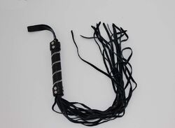 Black Leather Flogger with Intricate Handle