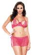 Tease Eyelash Lace Cutout Bra & Skirt Set