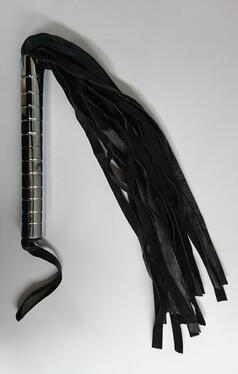 Unholy Leather Flogger with Hard Handle